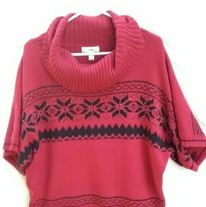 Dress Barn Red & Black Cowl Neck Sweater